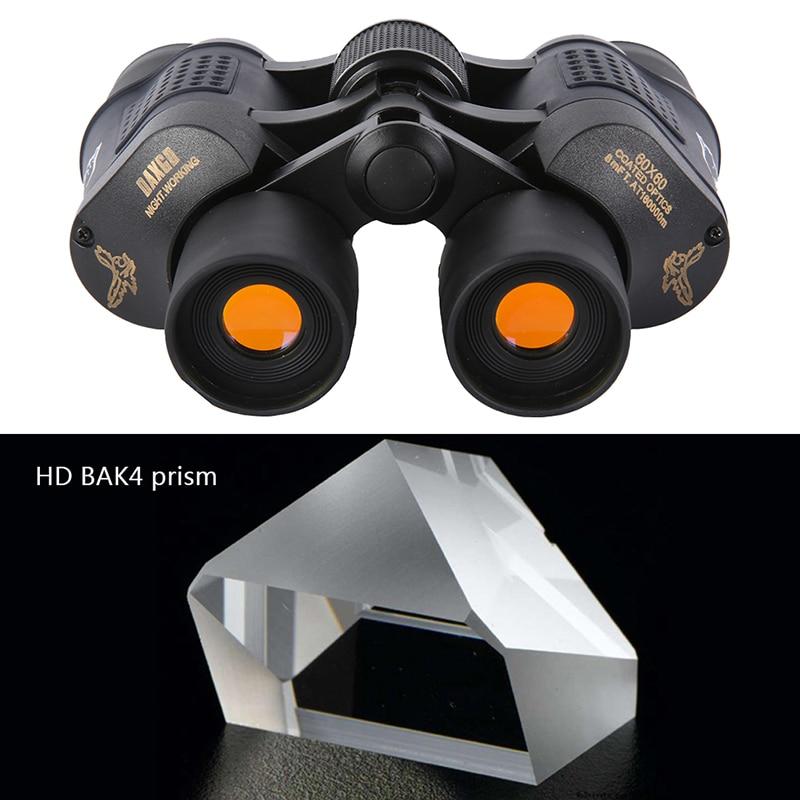1Pcs 60x60 Telescope Outdoor Coated Optics Day/ night Vision Working Hunting Military High-Powered Binoculars Anti-fog Black j2