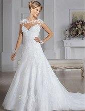 Vestidos De Novia 2016 New Design Real Photo wedding dresses Cap Sleeve Elegant Scoop Neck vestido Wedding Dress Brazil 2016