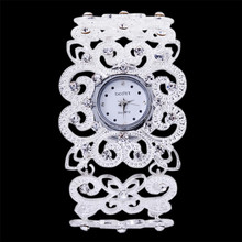 Fashion Women's Luxury Crystal Silver Bracelet Quartz Analog Wrist Watch Gift Relogio Feminino Wholesales Hot