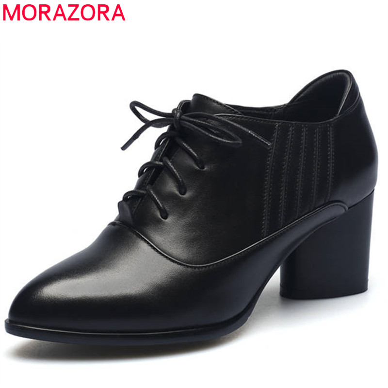MORAZORA 2018 new fashion women pumps top quality genuine leather shoes pointed toe spring autumn high heels shoes black цена