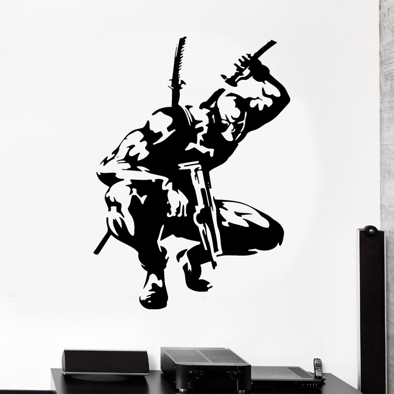 Deadpool Wall Decal Superhero Stickers Marvel Comics Wall Art Living Room Decor Vinyl Art Boy Room Decoration Waterproof A314