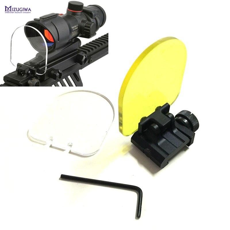 Airsoft Visori Lens Protector A Prova di Proiettile Rosso Verde Dot Sight Scopes Cover (Pieghevole Della Copertura w/2 Lenti di Ricambio) trasparente