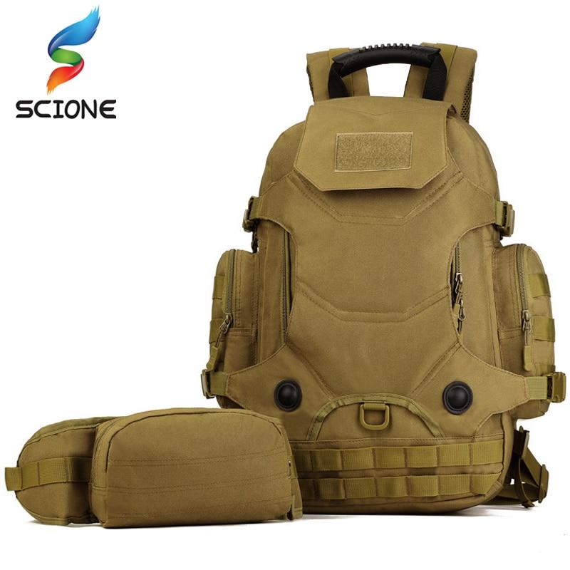 Al aire libre 2 Set mochilas tácticas Unidades militares bolsas de Camping bolso de Montañismo mochila de senderismo para hombre Mochila De Viaje + Paquete de cintura - 2