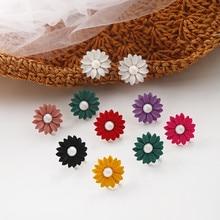 Korean Fresh Sweet Cute Solid Tracy Flower Pearl Woman Girls Stud Earrings Fashion Jewelry Holiday-KQQE