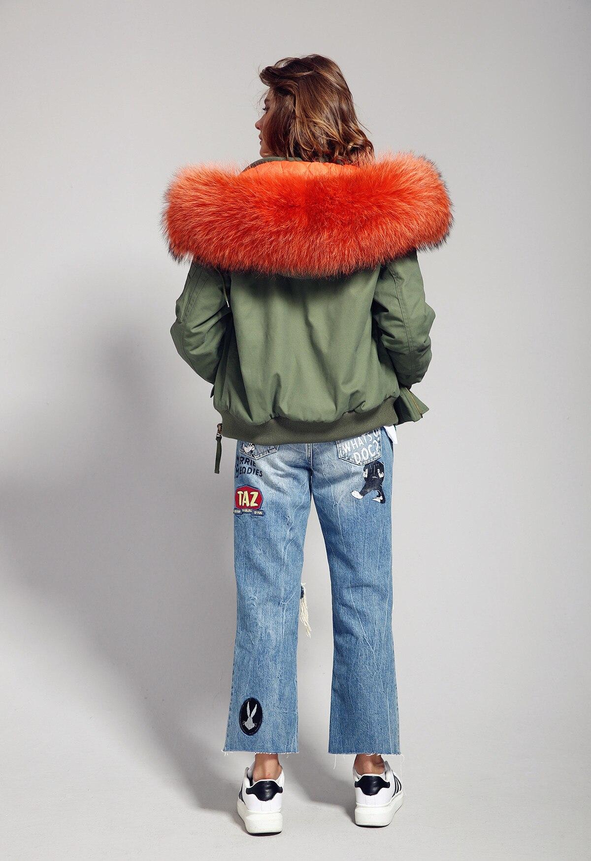 Jazzevar 2019 하이 패션 스트리트 여성 군대 그린 겨울 자켓 여성 따뜻한 폭격기 코트 후드 대형 너구리 모피 아웃웨어-에서파카부터 여성 의류 의  그룹 3