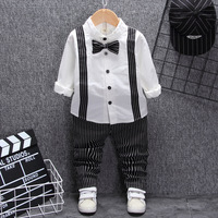 British style baby boy clothing one year birthday wedding costume set for newborn baby boy bow shirt tops pant suit clothes sets