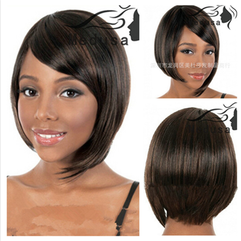 New Fashion Natural Highlight Black Straight Wig Women Elegant Bobo Wigs Full Lace Puffy Synthetic Hair pieces virgin glueless full lace human hair wigs for black women brazilian full lace wigs with baby hair body wave full lace front wig