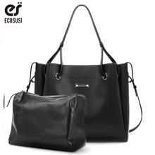 ECOSUSI 2 Pcs/Set Women Big Handbag PU Leather Female Backpack Tote Travel Bags Ladies Messenger Bag New Shoulder Bag 2019 New стоимость