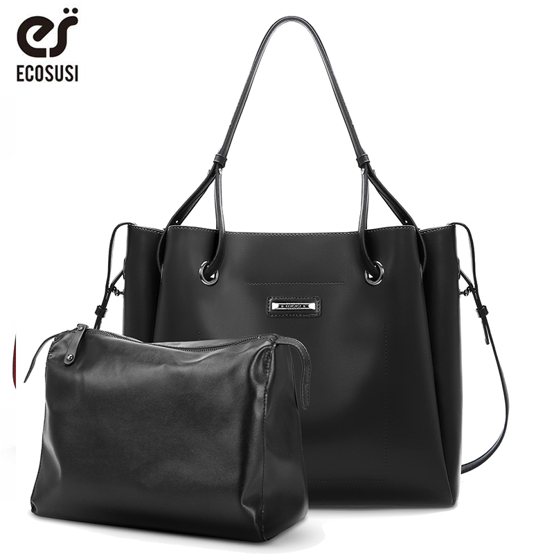 ECOSUSI New Women PU Leather Bag 2 Pcs/Set Women Handbag Female Tote Bag High Quality Women Shoulder Bags Ladies Messenger Bag цена