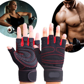 JIAZHOUHU Fitness Gloves Fingerless Breathable Weightlifting Mittens Half Finger Men Women Dumbbell Weight Lifting Gym Gloves