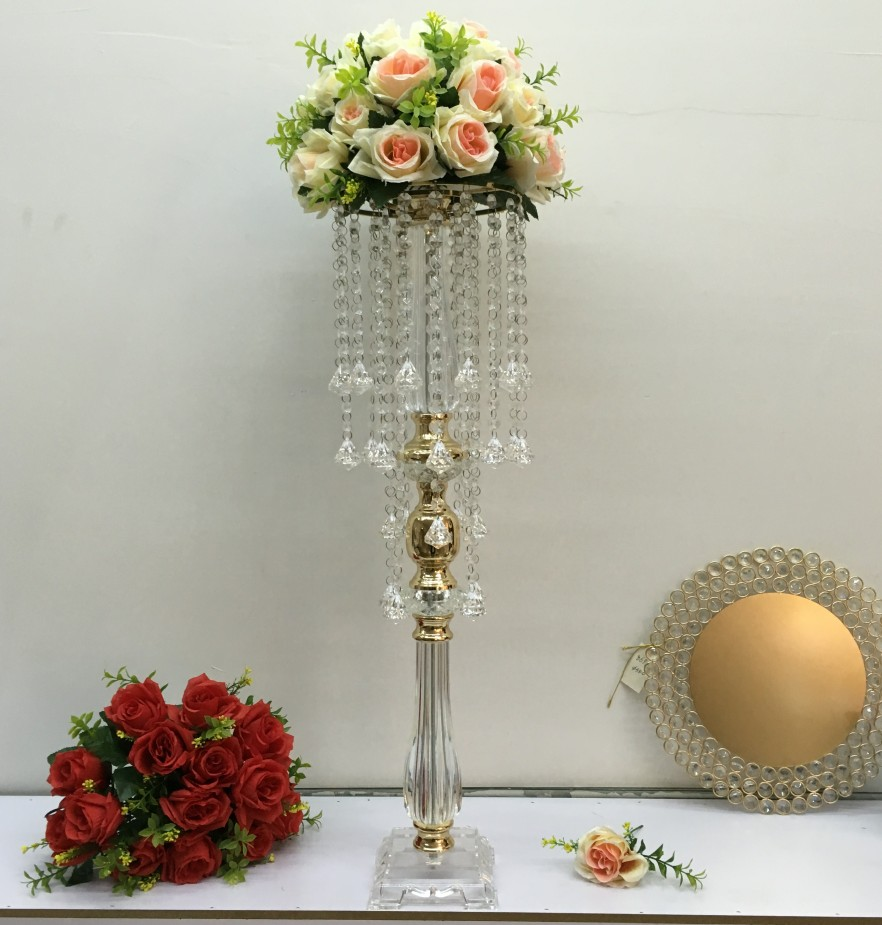Home Decor Peandim Acrylic Wedding Flower Rack 78cm Tall 24cm Diameter Silver Candelabra Table Centerpiece Wedding Flowers Road Leads