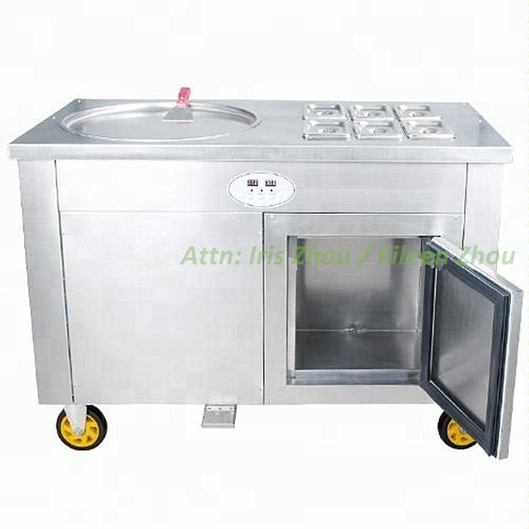 Fast Cooling Durable Air Compressor R410A Freon Fried Ice Cream Single Pan With 6 Fruit Buckets