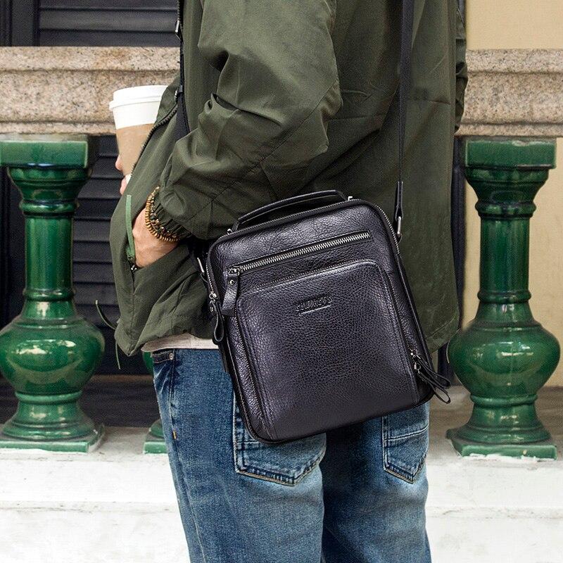 CONTACT'S 100% genuine leather men shoulder bag crossbody bags for men high quality bolsas fashion messenger bag for 9.7 4