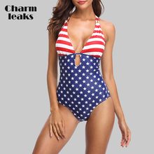 Charmleaks Women One Piece Swimwear American Flag Striped Swimsuit Bathing Suit Push Up Beachwear Monokini Bikini