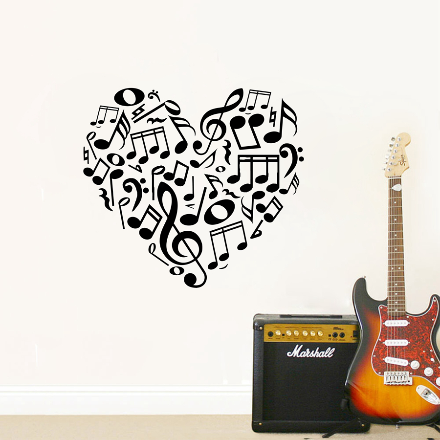 Online shop free shipping 52x51cm new design creative music notes online shop free shipping 52x51cm new design creative music notes wall stickers beauty symbols heart music notes art decoration a2054 aliexpress mobile amipublicfo Gallery