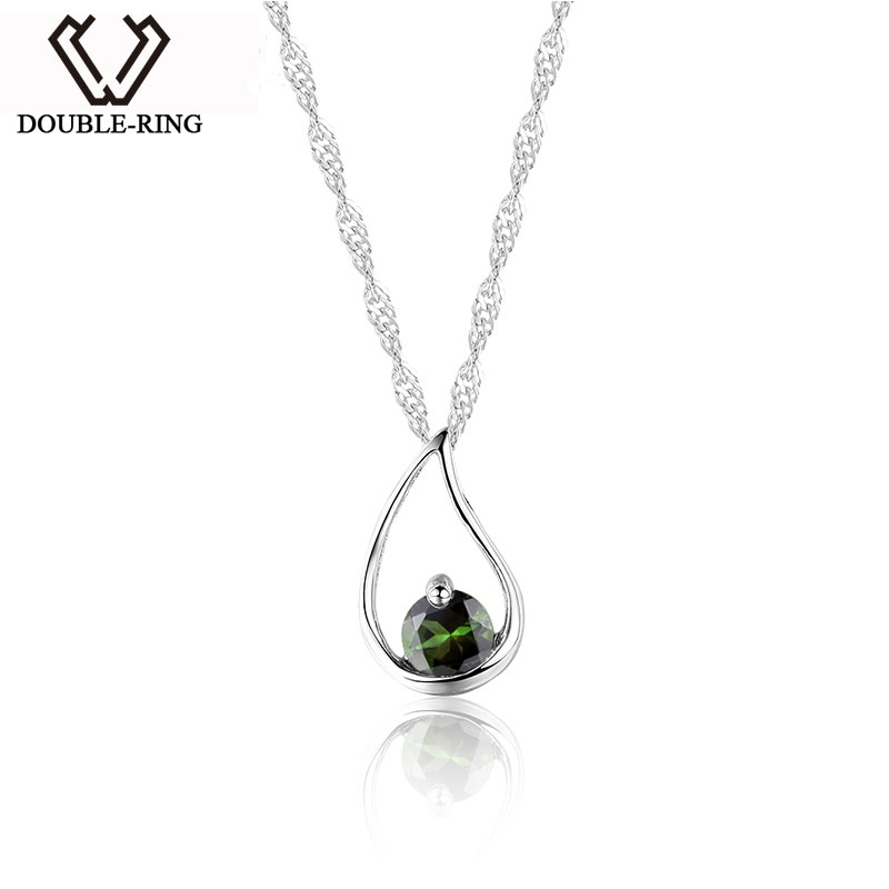 DOUBLE-R Natural Gemstone Pendants for Friends Water Drop Tourmaline Suspension Women 925 Silver Necklace Chain Pendant Jewelry stylish faux gemstone decorated multi layered water drop shape necklace for women