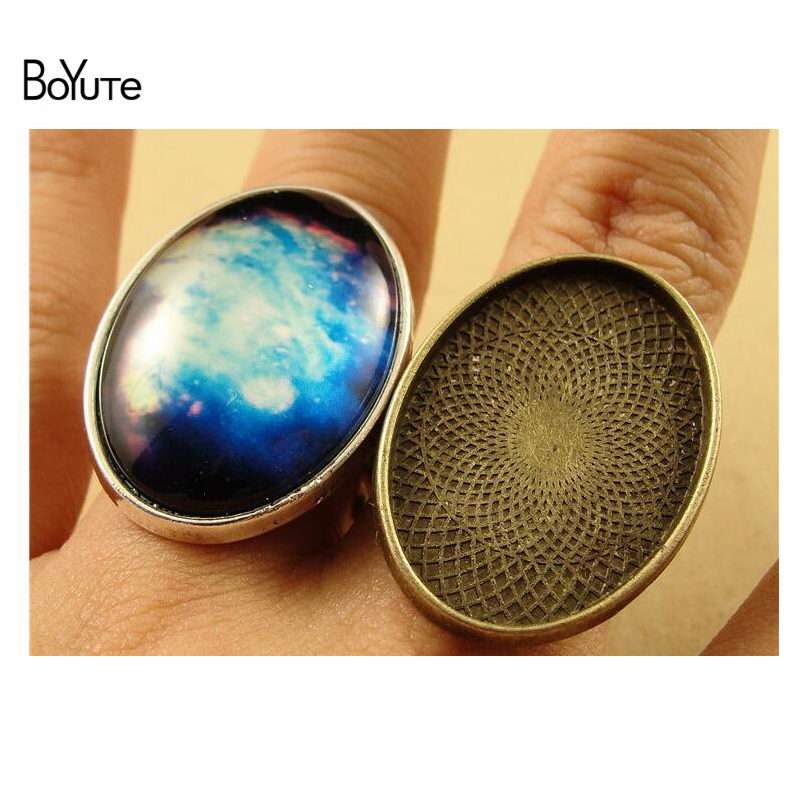 BoYuTe (10 Pieces/Lot) 25*18MM Alloy Adjustable Ring Bases Blanks Cabochon Rings Settings Bronze Silver Jewelry Components Diy