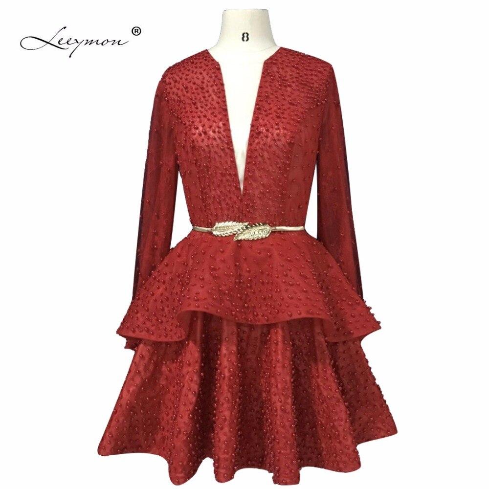 Leeymon Photos réelles manches longues robe de Cocktail vin rouge courte robe de bal 2019 pour les femmes personnaliser la taille RW017
