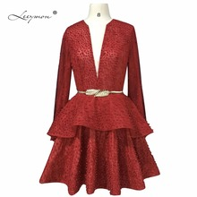 Leeymon Actual Photos Long Sleeves Cocktail Prom Dress 2019