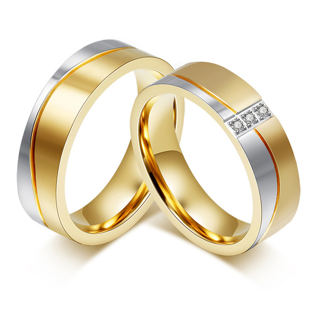 Lovers Bridal Wedding Ring Sets Yellow Gold Color Unique Cheap