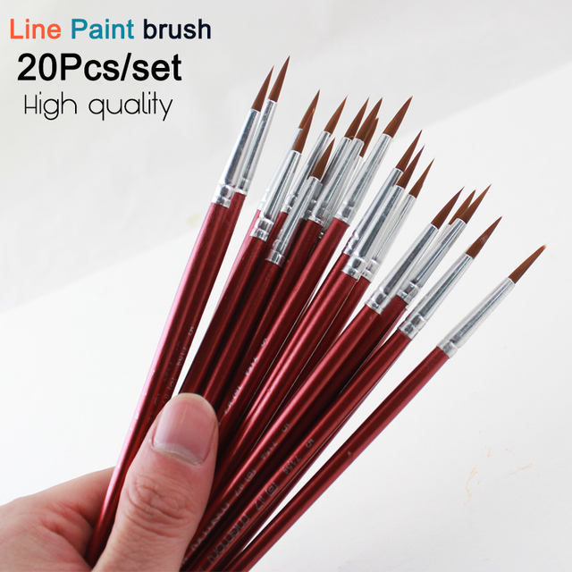 Memory 20Pcs Short Handle Artist Paint Brush Set Round Shape Nylon Hair Hook line Brush Set for Oil Watercolor Acrylic
