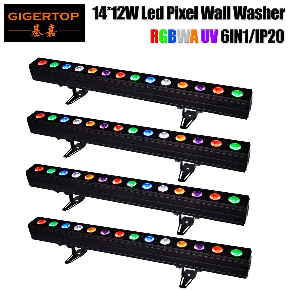 Freeshipping 14x12W 6 Color 14pcs RGBWA UV 30w Tyanshine Led Light Bar Wash Wall Led Pixel Long Bar Lighting Non waterproof x 4