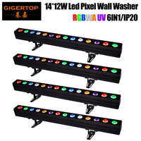 Freeshipping 14x12W 6 Color 14pcs RGBWA UV 30w Tyanshine Led Light Bar Wash Wall Led Pixel Long Bar Lighting Non waterproof x 4