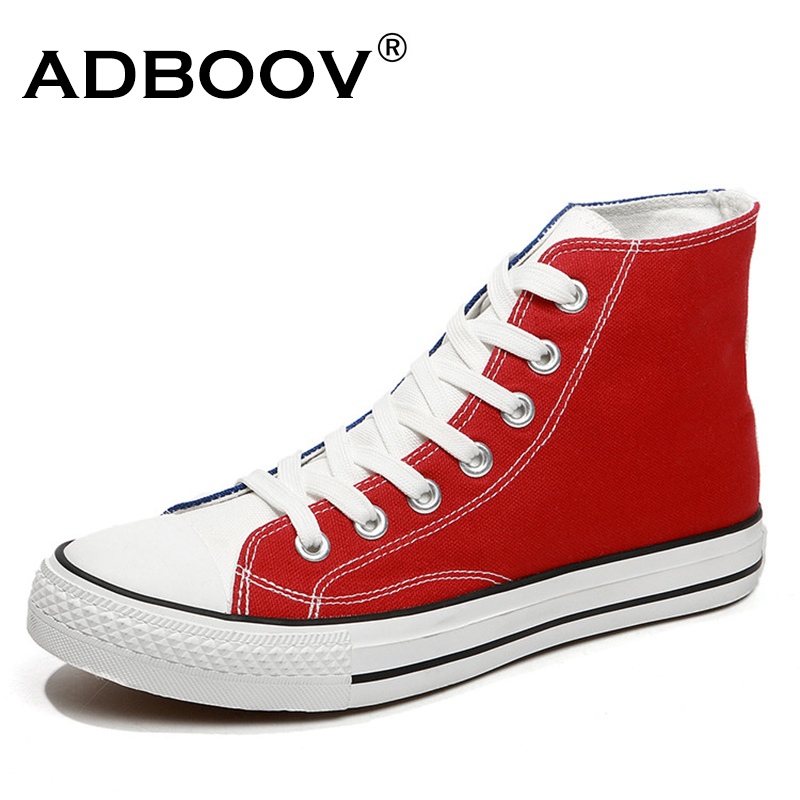ADBOOV Classic High Top Sneakers 2018 New Casual Shoes Men Rubber Sole Lace Up Canvas Shoes Zapatos Hombre Vulcanized Shoes