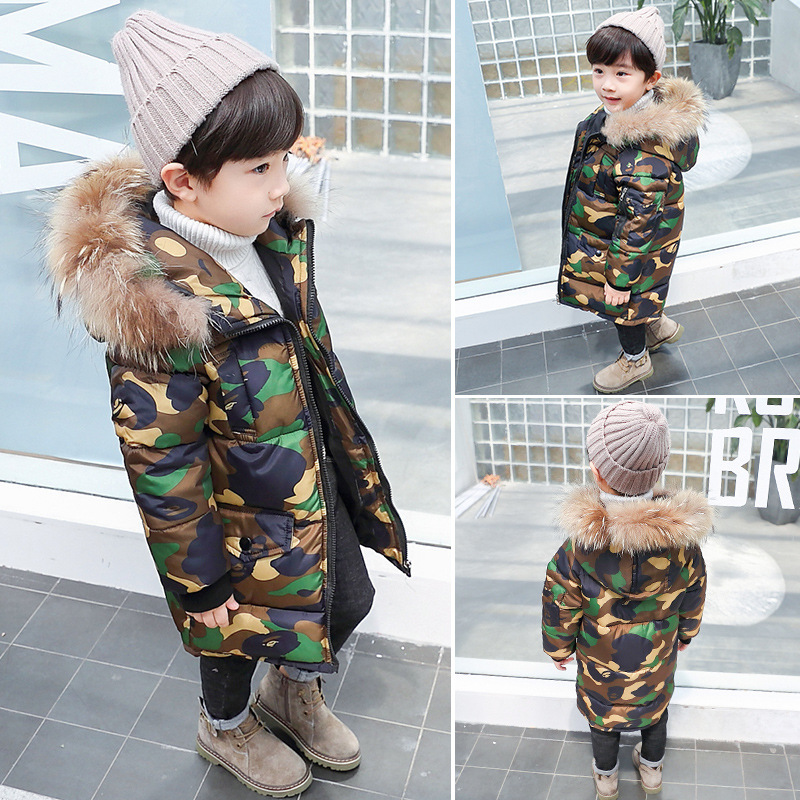 Boys Winter Jacket Coat Baby Bebe Children Kids Camouflage Long Parka Snowsuit Down Cotton Pad Clothes Fur Hooded Coat Jacket girls winter jacket coat baby children kids warm parka long snowsuit down cotton pad clothes color fur collar hooded jacket
