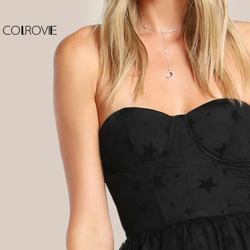 COLROVIE, черное сексуальное бюстье, вечерние платья, звезда, флок, милое женское Сетчатое платье макси, летнее платье без бретелек, Прозрачное платье с вырезами
