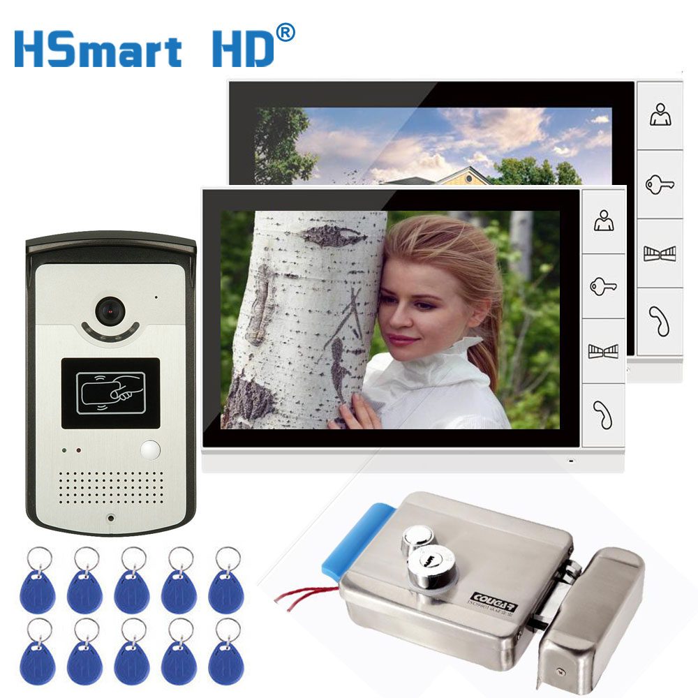 9 Inch Color Monitor Video Door Phone Video Intercom Doorbell System 1 RFID HD Camera Waterproof 2 Monitor + Electric Lock