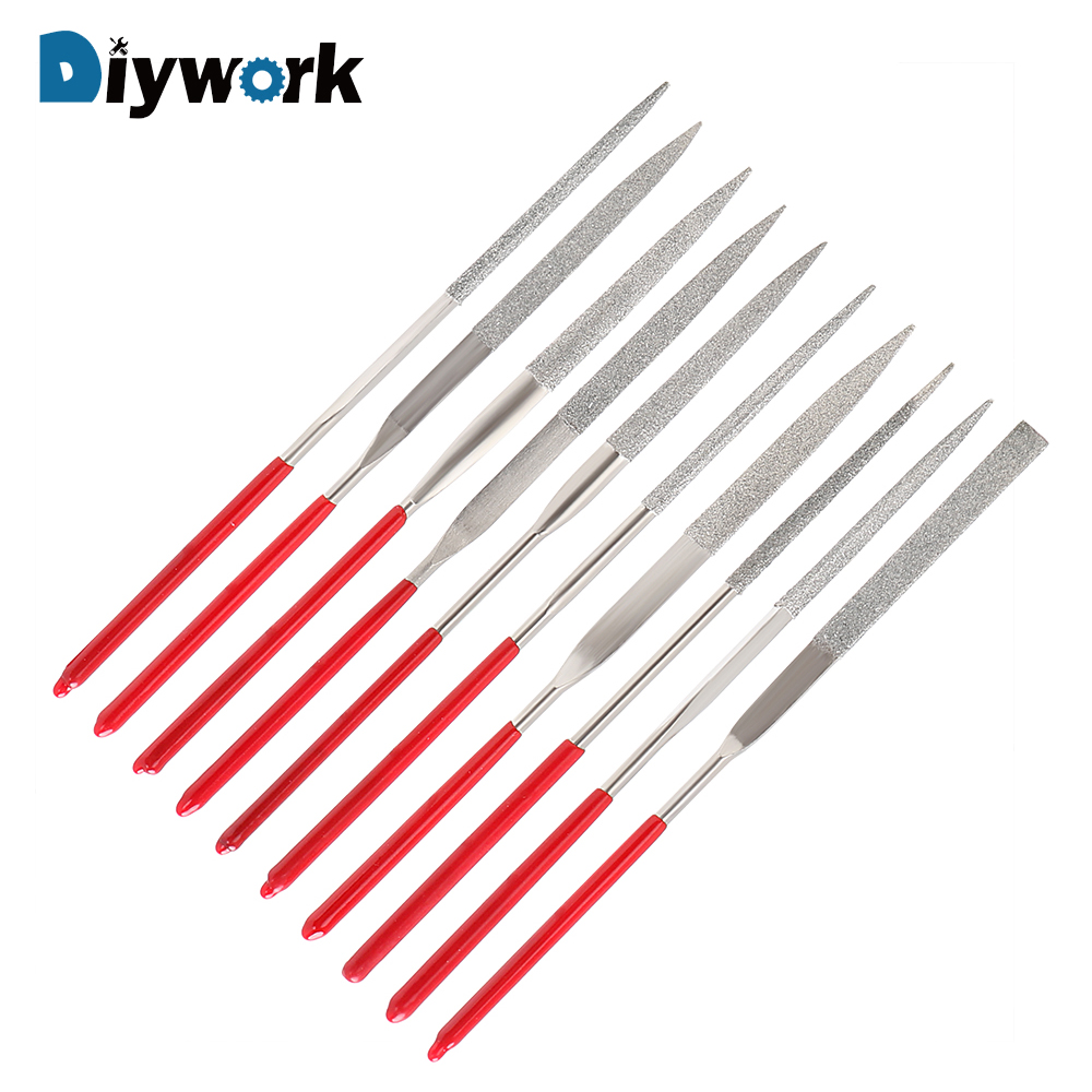 DIYWORK 10Pcs Mini Needle File Set Diamond Coated MTS013 140mm For Ceramic Glass Gem Stone Hobbies And Crafts