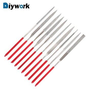 DIYWORK 5/10Pcs Mini Needle File Set Diamond Coated MTS013 140mm For Ceramic Glass Gem Stone Hobbies And Crafts