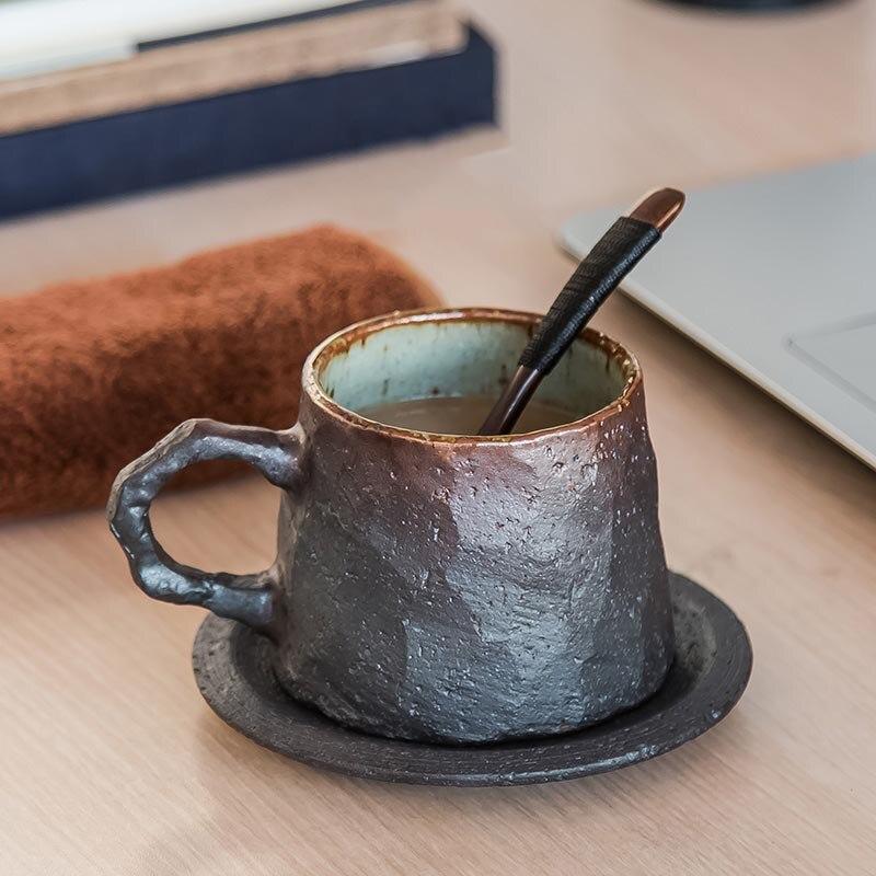 290 ml Vintage tasse à café avec soucoupe ensemble grossier poterie Drinkware maison après-midi thé poignée tasse petit déjeuner lait eau tasses