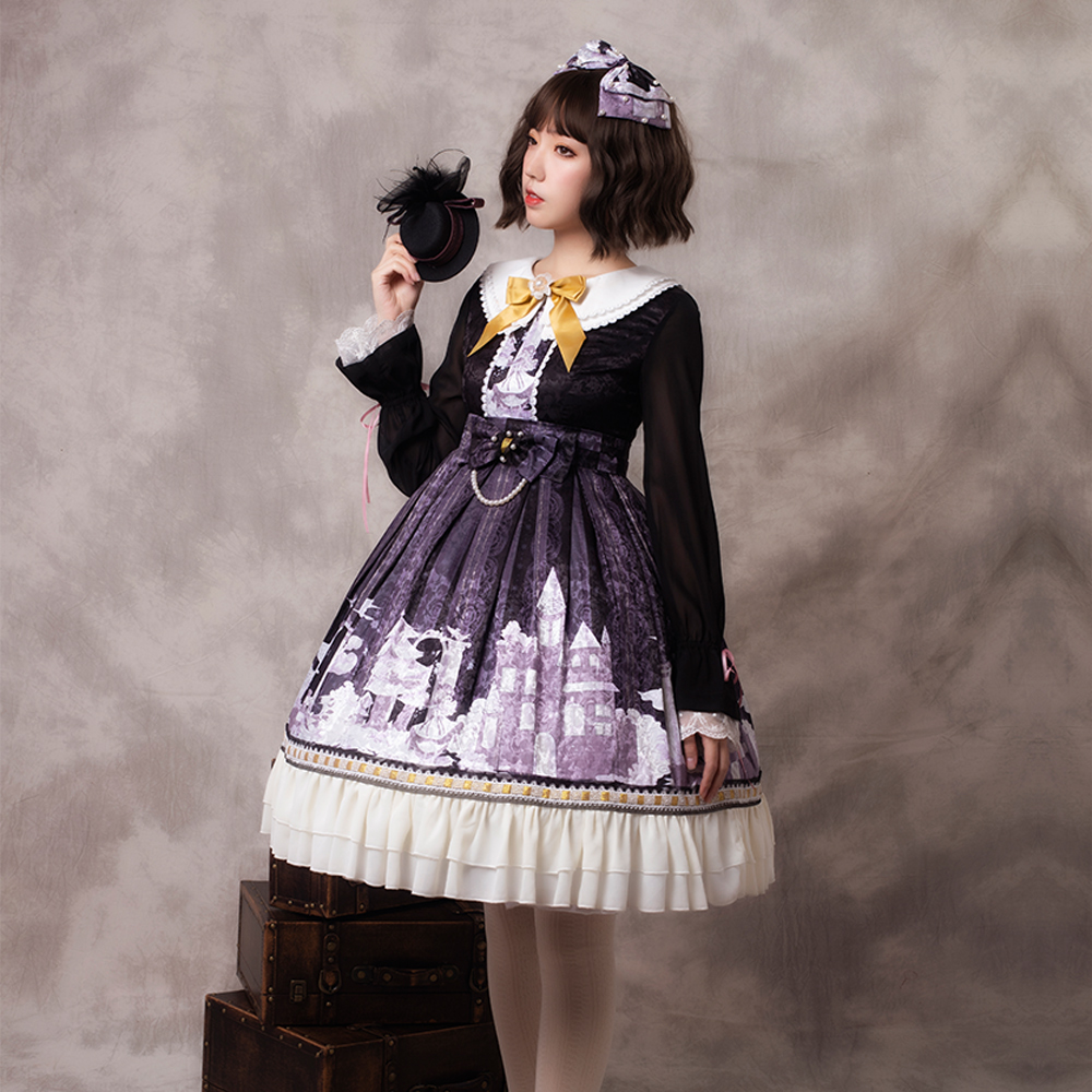 33c98e0e1 Gothic Dresses Lolita Snow Girl Long Sleeve OP Dress Lolita Dark Printed  Retro Princess Skirt Black Lolita Dress ~ Top Deal June 2019