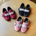 Новая коллекция весна осень малышей мода горный хрусталь скольжения на для детей девочка плоский кожаный ребенок бренд розовый обуви