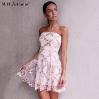 M H Artemis Strapless Mesh Floral Embroidery Sexy Dress Women Backless Spring Mini Dress Beach Short