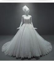 DM Real Model Ball Gown Wedding Dresses 2017 O Neck Lace Applique Court Train Bride Bridal