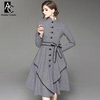 Autumn Winter Woman Dress Black White Plaid Pattern Dress With Belt Black Border Stand Collar Single