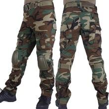 Лесные камуфляжные боевые брюки, охотничьи брюки, мужские брюки-карго BDU, военные армейские камуфляжные страйкбольные тактические брюки с наколенниками