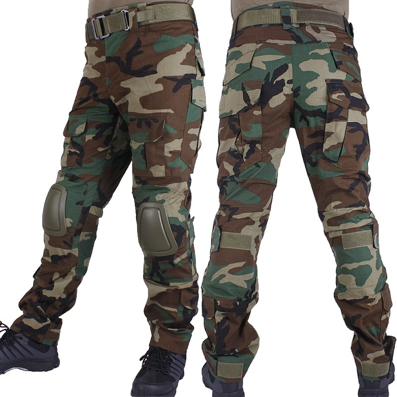 Combat-Pants Hunting-Trousers Knee-Pads Military Woodland Army Camouflage Cargo Airsoft title=