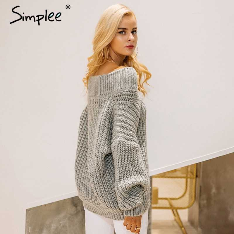 e4622e371b5 Simplee Winter warm v neck knitted sweater jumper Women thick long sleeve  pullover pull femme Sexy off shoulder black sweater