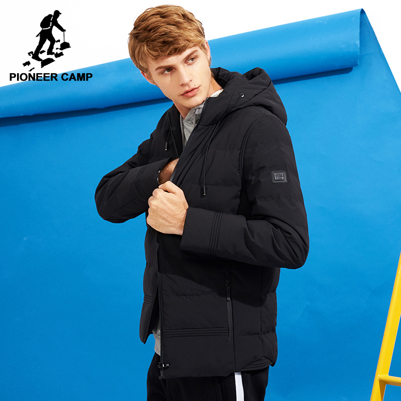 Camp pionnier nouvelle épais hiver veste hommes marque vêtements à capuche manteau chaud mâle top qualité noir solide parkas veste AMF705280