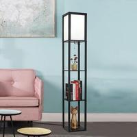 LED Shelf Floor Lamp Wooden Frame Tall Light with Organizer Storage Display Shelves Modern Standing Lamp for Living Room Bedroom