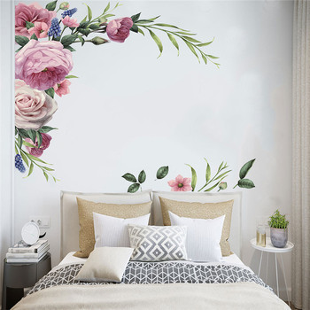 1PC Large Peony Rose Wall Stickers DIY Vintage Flowers Wallpaper For Bedroom Living Room Decals Mural Home Decor kid Girls Gift