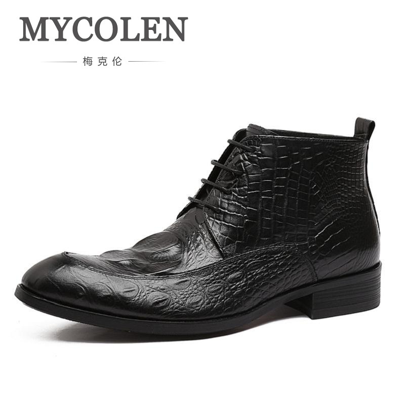 100% Wahr Mycolen Männer Boot Schuhe 2018 Echtem Leder Braun Spitze Up Krokoprägung Business-schuhe Marke Luxuriöse Formal Männer Schuhe Hell Und Durchscheinend Im Aussehen