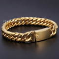 Davieslee 12mm WIDE Gold/Silver Tone Flat Curb Link 316L Stainless Steel Bracelet Mens Boys Chain Wholesale  DLHB380