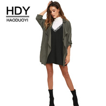 HDY Haoduoyi Fashion Women Elegant Coats Waterfall Trench Coat Open Front Asymmetric Length Draped Outwear