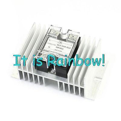 hot selling SSR-10LA/25LA/40LA/60LA 4-20mA to AC28-280V 50A Silver Tone Heatsink 1 Phase Solid State Relay Switch