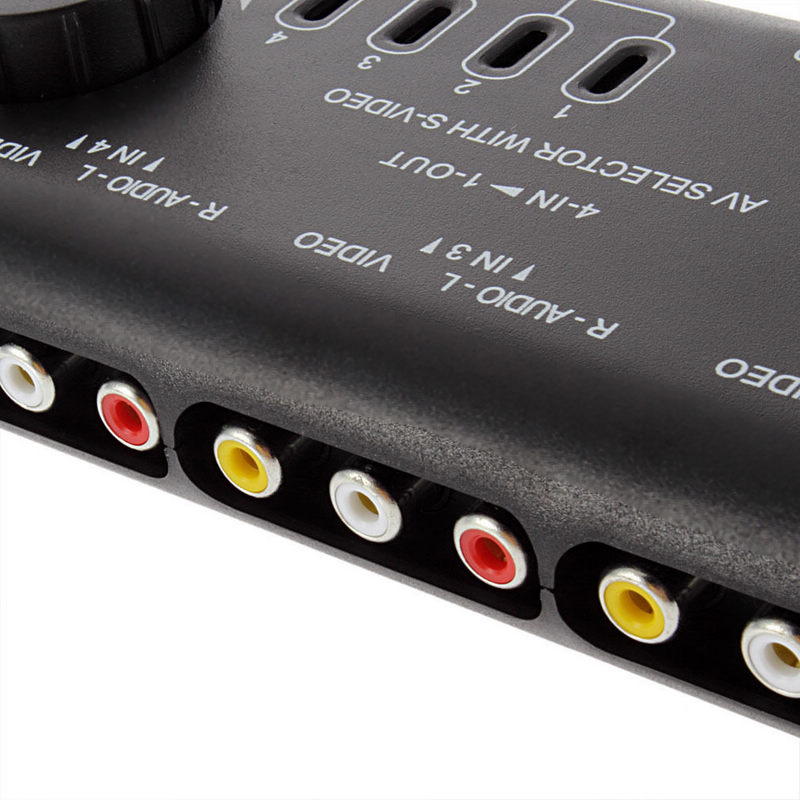 Mayitr 4 in 1 Out AV RCA Switch Box Professional 4 Way AV Audio Video Signal Switcher Splitter Selector with RCA Cable